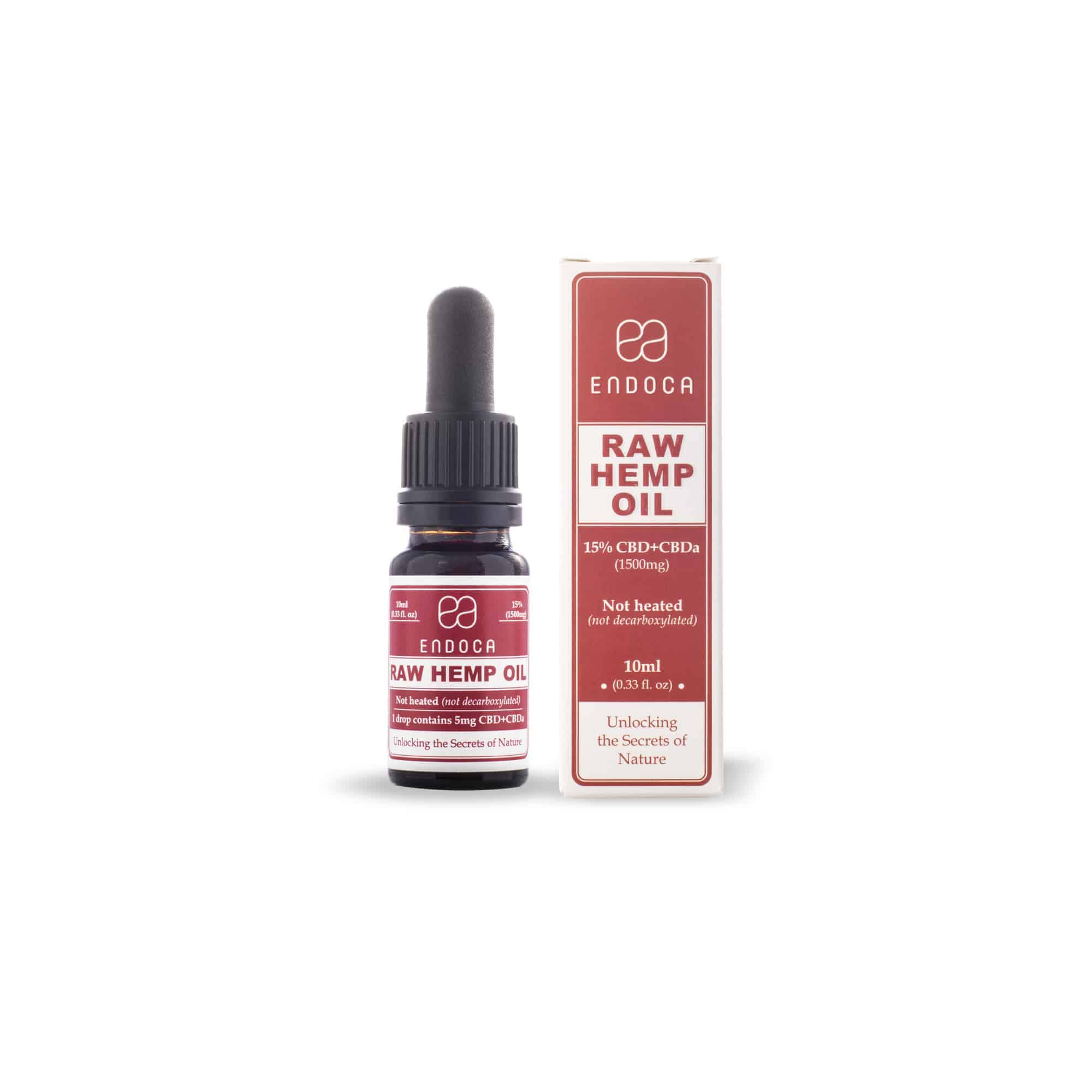 Endoca RAW Hemp Oil Drops (1500mg) CBD+CBDa (15%)