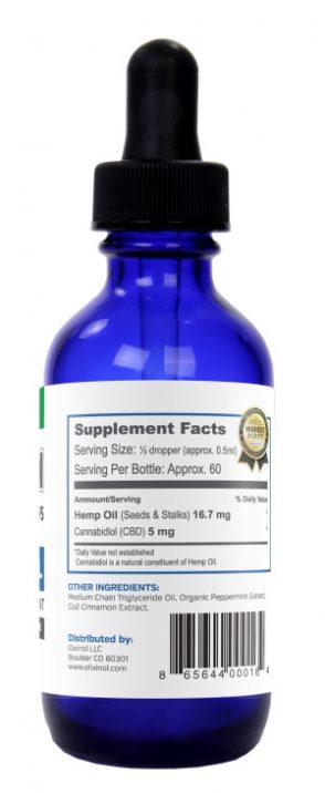 Elixinol Tincture 300 Cinnamint Label