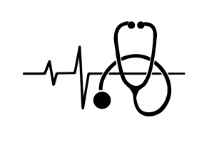 stethoscope ekg healthcare symbol in white background