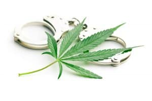 marijuana leaf on top of hand cuffs