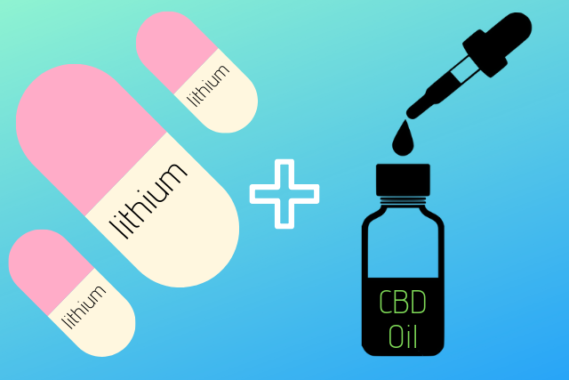 Vector Graphics Illustration of Lithium Capsules and CBD Oil bottle w/ Dropper