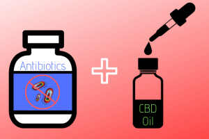 a vector image of an antibiotics pill bottle and a CBD oil bottle with its tincture dropper