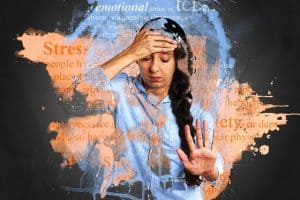 stressed woman with hand outstretched
