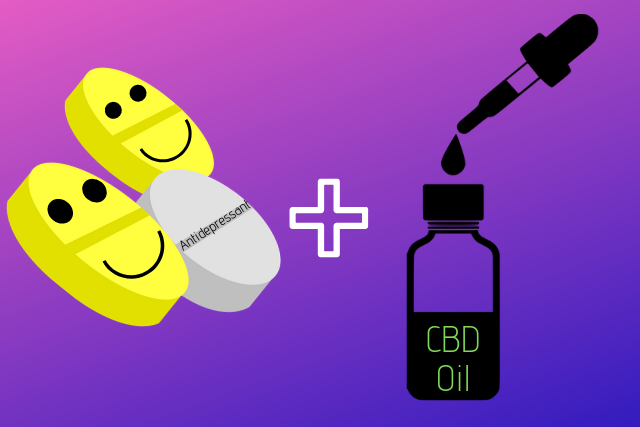 Vector Image of antidepressant pills and cbd oil tincture with dropper