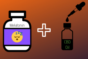 Vector image of a Melatonin bottle and cbd oil tincture with dropper