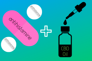 Vector Image of antihistamine pills and cbd oil tincture with dropper