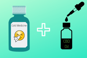 a vector image of a cold medicine bottle and a CBD oil bottle with its tincture dropper
