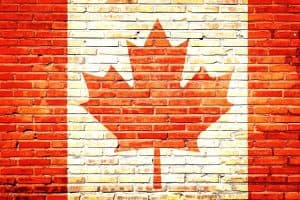 Poster of Canadian flag painted over a brick wall-like texture