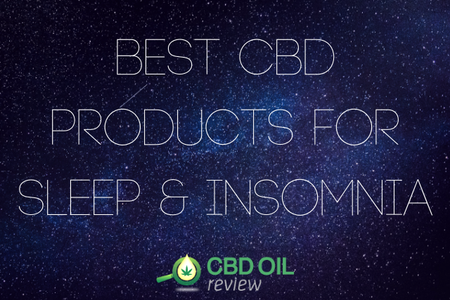 "Vector graphic poster written with ""Best CBD Products For Sleep & Insomnia"" with CBD OIL Review logo below"