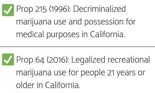 descriptions of California Prop 215 and Prop 64
