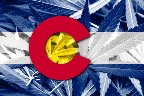 image of Colorado flag with cannabis leaves
