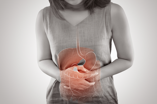 "A woman is clutching her abdomen, while a superimposed ""x-ray"" image of her digestive system can be seen over it."