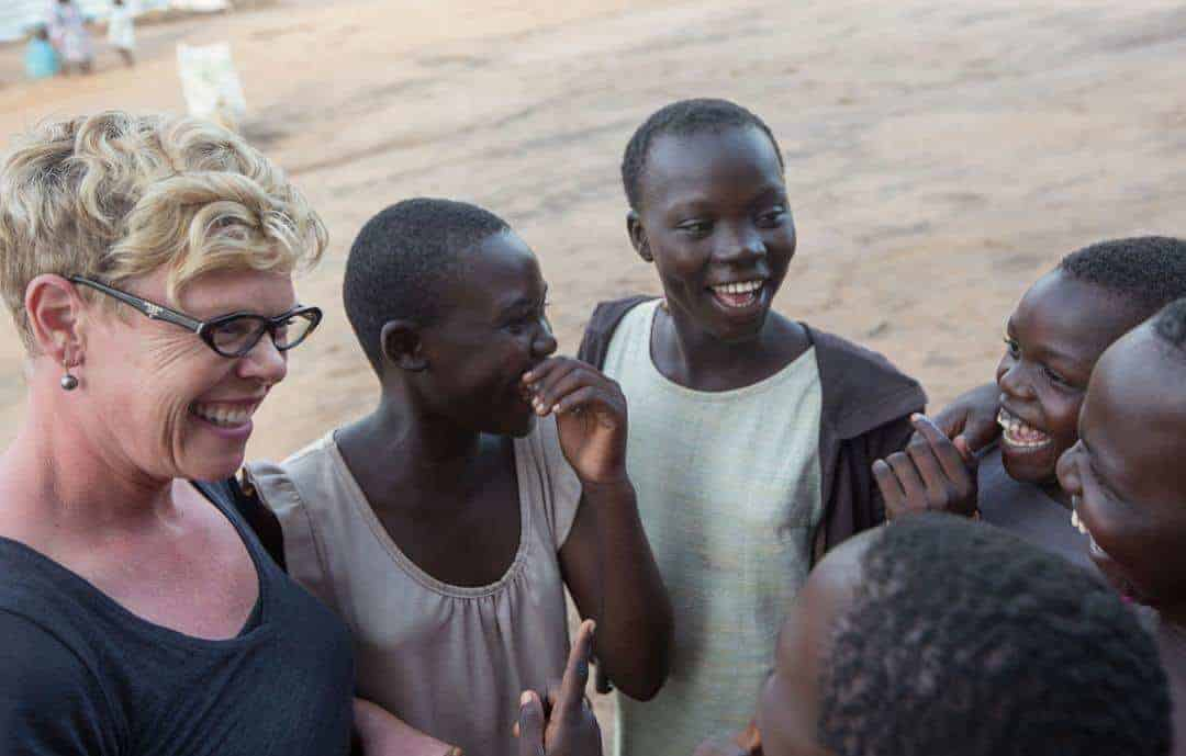 Joy Smith with Ugandan school children during Joy Day