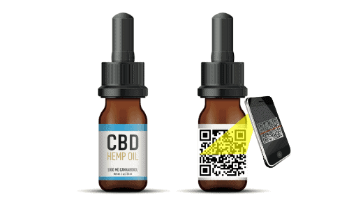 phone scanning a QR code on a CBD bottle