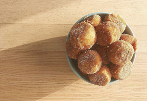 bowl of cbd apple cider donut holes